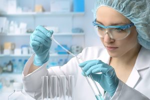 Person working in drug test lab