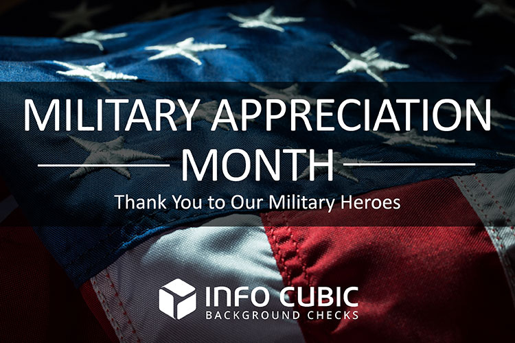 Military Appreciation Month message showing an American Flag