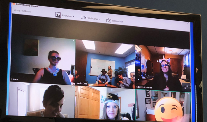 Halloween meeting with remote employees