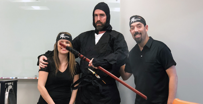 Client Service Ninjas being anointed